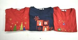 Lot Of 3 Kim Rogers Womens Christmas Holiday Shirts Embroidered Cotton Blend L $22.99