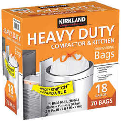 Kirkland Expandable Heavy Duty Compactor amp; Kitchen Bags 18 Gallon 70 Bags $21.99
