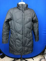 Columbia Womens Long Black Insulated Puff Quilted Full Zip Jacket $40.00