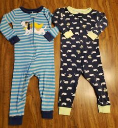 Boys 12 month Cotton Carters Footless Sleepers Zip Light Weight Pajama Lot of 2 $9.95