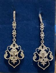 New Old Stock Avon Chandelier Earrings Openwork ST Lace with Rhinestone Accents $6.99