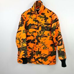 Vintage 90s Orange Camo Hunting Work Wear Jacket Size XL