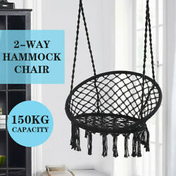 In Outdoor Hanging Swing Chair Hammock Rope Net Porch Patio Seat Black 330 Ibs $56.95