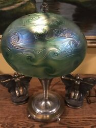 Arts Crafts Vintage Antique Art Glass Pairpoint Lamp Bradley Hubbard Handel Era $995.00