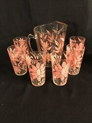 VINTAGE GLASS PITCHER WITH quot;PINKquot; DAISIES WITH 6 MATCHING GLASSES quot;VERY RAREquot; $85.00