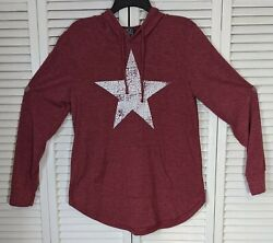 Modern Lux Shirt Maroon Hood Distressed Star Long Sleeve Pullover Womens Size L $9.34