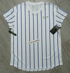 NWT Nike Court Dry Slam Crew Tennis Top Sz Large Men CI9150 100 Retail $80 $39.95