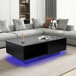 Coffee Table RGB LED home Wooden Modern Drawer Storage Living dining Room $139.99