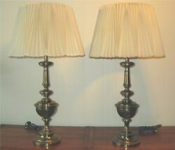 PAIR Vintage STIFFEL BRASS TABLE LAMPS with PLEATED SHADES $130.00