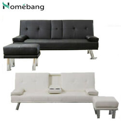 Sleep Sofa Bed Convertible Faux Leather Couch Modern Living Room Futon Loveseat $335.59