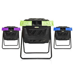 Large Compost Tumbler Bin Outdoor Garden Rotating Dual Compartment Compost $89.99