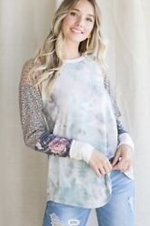 NWT Designer Boutique Leopard Floral Sleeve Blue Green Tie Dye Top HOT S M L XL $34.99