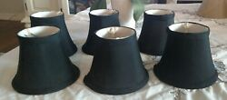 BLACK LAMP SHADES CHANDELIER CLIP ON SMALL 4quot; TALL set of six $24.99