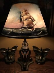 Pairpoint Arts Crafts Reverse Painted Antique Lamp Handel Bradley Hubbard Era $3500.00