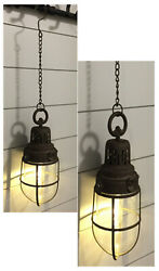 2pc Rustic Barn Lights LED Hanging Lanterns Lamps Lights Automatic 6Hr Timer New $89.00