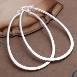 Women#x27;s 925 Sterling Silver Classic White Large quot;Uquot; Shaped Hoop Vintage Earrings $17.99