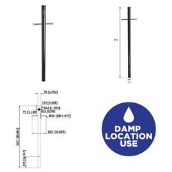 Black Lamp Post with Cross Arm and Outlet $89.99