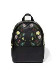 Art Class Black Mini Backpack Purse Faux Leather Embroidered Floral Adjustable $12.22
