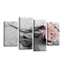 4Pcs Pink Grey White Love Rose Floral Canvas Wall Art Picture Print Home Set. $14.29