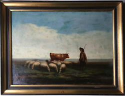 19thC French Oil antique painting The shepherd and the sheep in a Landscape $1200.00