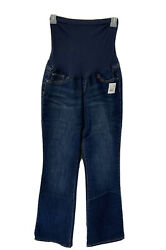Indigo Blue Maternity Bootcut Semi Evase Medium Long Maternity Color Blue Jeans $28.79