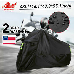 4XL Black Motorcycle Cover waterproof For Winter Outside Storage Rain Wind Snow $25.69