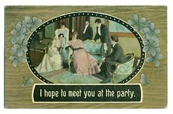 Postcard 1911 I Hope To Meet You At The Party Colorful Dresses ME4. $1.99