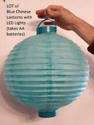 LED Chinese Lantern LOT 5 Large 13quot; Turquoise Blue Paper Lights Battery Operated $9.98