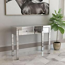 Mirrored Makeup Dressing Table Silver Vanity Table with 2 Drawers Silver $205.99