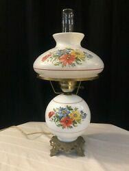 """Antique Hurricane 3 way Lamp White with Hand Painted Flowers 22"""" Tall $80.00"""