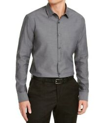 Alfani Mens Dress Shirt Gray Size Medium M Long Sleeve Classic Fit $65 099 $16.78
