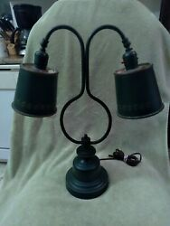 Vintage tole 2 arm double adjustable Lamp deep green and gold original paint. $125.00