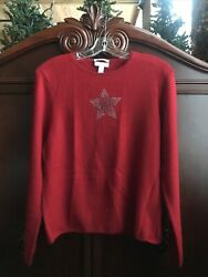 Charter Club 100% Cashmere Red Crew Neck Sweater Silver Rhinestone Star Large L $34.95