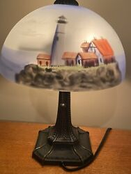 Vintage Table Lamp With Reverse Hand Painted Lighthouse Glass Shade $160.00