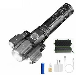 13000LM LED Tactical Flashlights USB Rechargeable Torch 4 Modes Zoomable Lantern $27.77