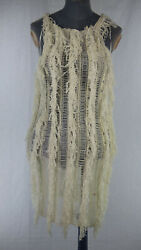 BNWT PRETTYLITTLETHING Cream Fringe Detail Knitted Mini Dress Trendy size M GBP 18.99