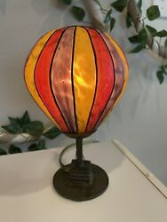 vintage hot air balloon lamp; Stained Flashed Glass; Multi colored Lampshade $75.00