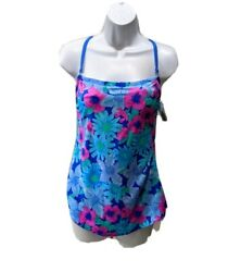 NWT Talbots Sea Waves Skirted Bathing Suit One Piece Womens 12 Floral Tropical $31.45