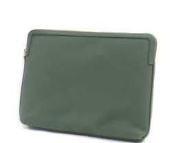 Martha Stewart Large Canvas Zip Top Pouch with Leather Trim Olive $19.99