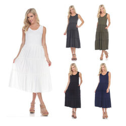 White Mark Scoop Neck Sleeveless Polyester Solid Pleated Lightweight Maxi Dress $29.95