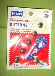 VINTAGE PRISMS COVER YOUR OWN BUTTONS 5 COUNT BRASS HALF BALL EASY NEW $10.00