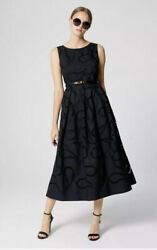 ESCADA Cotton Paisley Broderie Black Dress Gown Eyelet Designer Cocktail Sz 40 L
