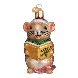 Old World Christmas CAROLING MOUSE BROWN 12427 N Glass Ornament w OWC Box $12.59