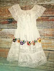 Vintage 80s Mexican Sundress Dress hand embroidered Girls sz 8 10 Large Floral $40.00
