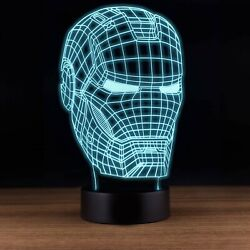 Iron Man Mask 3D illusion USB Prowerd Touch switch 7 Color LED Night Light Lamp $12.99