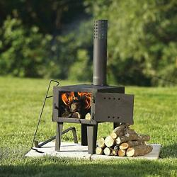 Small Outdoor Wood Burning Stove Fireplace Steel Heater Burner Pipe Camping Cook $299.95