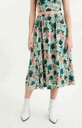Lost Wander Womens Skirts Green Size Medium M A Line Floral Print $92 696 $22.97