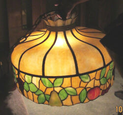 Original Vintage 1900#x27;s Tiffany Type Leaded Stained Glass Hanging Shade $1195.00