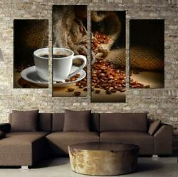 Kitchen Canvas Art Coffee Bean Coffee Cup Canvas Prints Wall Art Home Decoratio $12.81