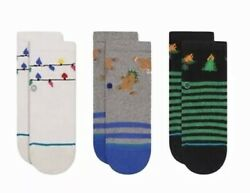 Stance 3 Pack Multicolor Crew Cotton Holiday Santarchy Infant Socks 3 6 Months $14.99